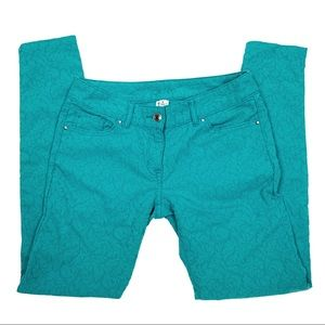 Cache Teal Blue Baroque Skinny Jeans